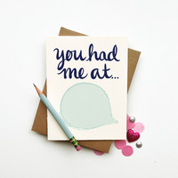 You Had Me At diy custom personalized quote card chic love romantic anniversary I love you best friend calligraphy typography handwriting