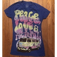 Peace, Love, and Rock N Roll Womens T-Shirt