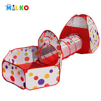 3 In 1 Kids Play Tents Pipeline Crawling Huge Tunnel Toy House for Children Outdoor Indoor Yard Playpens Ocean Stress Ball Pool
