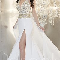 Long V-Neck Halter Formal Gown by Panoply