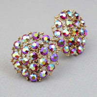 Vtg 1960s red RHINESTONE EARRINGS / cherry Aurora Borealis AB round