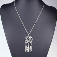 Women's Fashion Bohemian Style Vintage Feather Wings Long Necklace Sweater Chain Dream Catcher Necklace