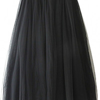Mesh Overlay Pleated Maxi Skirt