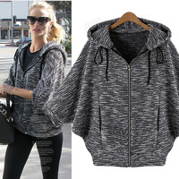 Women's Fashion Three-quarter Sleeve Bat Tops Autumn Hats Jacket [9068277956]