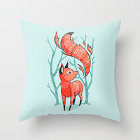 Winter Fox Throw Pillow by Freeminds