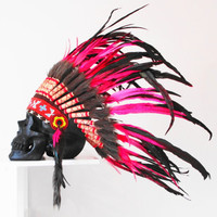 Indian Skull with Head Piece, Native American Attire, Human Skull, Native Indian Headdress, Native American War Bonnet, Feathered Headdress