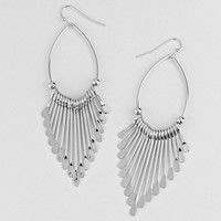 Silver Loop Chevron Earrings