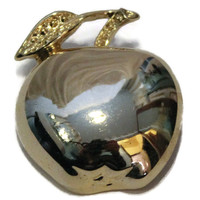 Vintage Gerry's Apple Brooch In Gold tone, Gift For Teacher