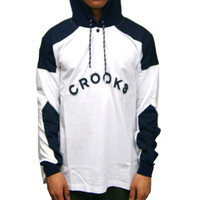 Percy Hooded Ragby Pullover White Navy