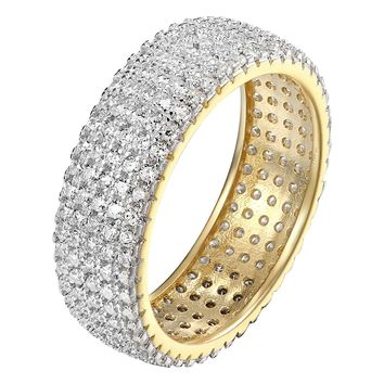 925 Sterling Silver Round Cut Eternity Wedding Band Ring Women 14k Gold Finish