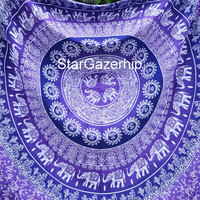 Full/Queen Tapestry  Elephant Mandala Bed Sheet Bohemian WallHanging Hippie Tapestry Boho Bedding Elephant Purple