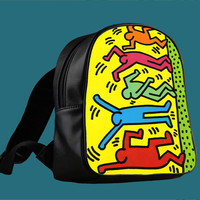 Keith Haring Pop Art for Backpack / Custom Bag / School Bag / Children Bag / Custom School Bag *