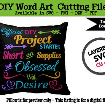 DIY Crafts Word Art SVG Cutting File for Silhouette -  CU ok - Printable Pdf - Transparent Png - Dxf Cameo Cutting Machine File