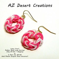 Two Pairs Breast Cancer Awareness Pink and White Rubber Band Earrings