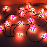 Vintage Wrapped Christmas Candy Holiday Lights, 2 Sets Xmas Lights, Holiday Decor, Red and White Christmas Light Strand