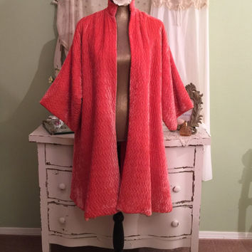 Coral Velvet Coat & Lace Nightie Set, 50s Nightgown w Robe, 1950s Nightdress Set, Kimono Swing Coat, Vintage Lingerie, Old Hollywood Glam