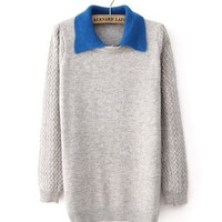 *Free Shipping* Light Grey Women Knitting Sweater TBHTK1204lg from clothingloves