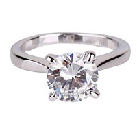 Cathedral Set CZ Solitaire 14K White Gold Plated Engagement Ring For Woman