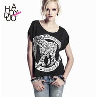 Womens t-shirt with tame my wild heart and leopard print