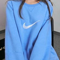 """N  """"NIKE"""" Popular Women Men Blue Embroidery Logo Round Collar Top Sweater High Quality I-A-HRWM"""