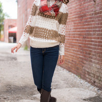 Live For Me Sweater, Mocha/White
