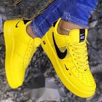 Air Force 1 Nike Classic Women Flat Sport Running Shoes Sneakers Yellow