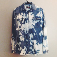Oversized Bleached Denim Flannel - Blue cow