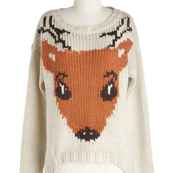 ModCloth Critters Mid-length Long Sleeve If I Could, I Woodland Sweater