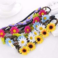 Flower Elastic Women Boho Headband
