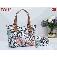 TOUS Popular Women Shopping Bag Leather Handbag Tote Shoulder Bag Set Two Piece 2#