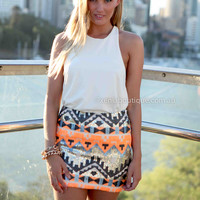 TRIBAL SEQUIN SKIRT , DRESSES, TOPS, BOTTOMS, JACKETS & JUMPERS, ACCESSORIES, 50% OFF SALE, PRE ORDER, NEW ARRIVALS, PLAYSUIT, COLOUR, GIFT VOUCHER,,SKIRTS,Print,Orange,Sequin,BODYCON,MINI Australia, Queensland, Brisbane