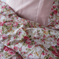 CRIB Bedding fitted bed sheet with square pillow shabby chic Bedding Red green Pink roses floral print - romantic bedroom Nurdanceyiz
