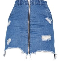 Dark Wash Distressed Zip Front Denim Skirt