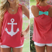 New Summer fashion Sexy Women vest anchor pattern & bowknot back sleeveless T-shirt -0706
