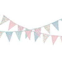 Vintage Style Fabric Bunting: Vintage Style Shabby Chic Country Garden Cotton Fabric Bunting price