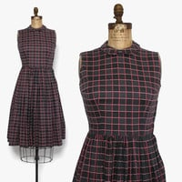 Vintage 50s Sleeveless Cotton DRESS / 1950s Gray & Pink Check Grid Print Full Skirt Sun Dress