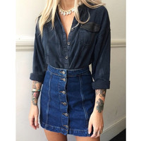 Summer style vintage faldas crayon jupe etek saia feminina A-line jeans high waist button denim skirt female