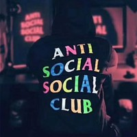 Anti Social Social Club Fashion Print Pullover Hoodie Top Sweater