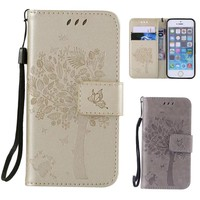For Apple iPhone 7 Cases Mobile Phone Shell to Protect Casing For Coque iPhone 7 7 Plus Trees Embossed Leather Flip Cover Case