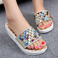 Fashion Summer Comfortable Colorful Pearl Beach Slippers for Women