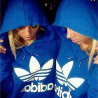 "Fashion ""Adidas"" Print Hooded Pullover Tops Sweater Sweatshirts Blue"