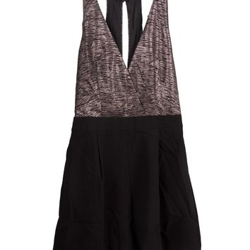 Lush Clothing - Metallic Cross Front Romper - Small