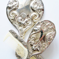 Vintage Vanity Set Mirror Brush Comb Gift for Her Special Occasions Gift Idea Home Decor