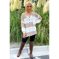 Looking Great Sweater: Taupe/Ivory