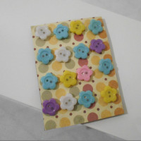 16 Buttoned and Flower Button Embellished Pastel Thumbtacks for Memo Boards, Girls Bedroom