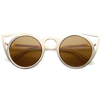 Women's Indie Round Laser Cut Metal Cat Eye Sunglasses 9788
