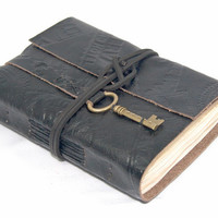 Embossed Black Leather Journal with Tea Stained Paper and Key Bookmark