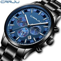 CRRJU Men's Watch Luxury Date Calendar Chronogra Watch For Men Military Waterproof Sports Black Stainless Steel Wrist Watches