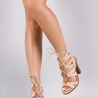 Liliana Suede Strappy Lace-Up Chunky Heel