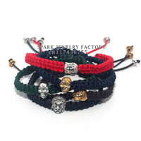 New Fashion Silver and Gold Plated skull Buddha Lion Bracelet Black Rope Skull Braiding Men Macrame Bracelet
